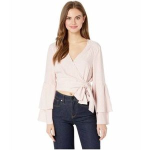 Jack by BB Dakota Surplice Wrap Bell Sleeve Blouse